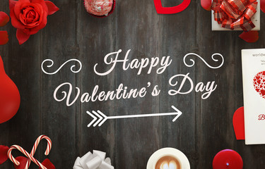 Happy Valentines Day scene with gifts, hearts, petals, rose, lollipop, coffee, book, balloon, tablecloth on wooden table.