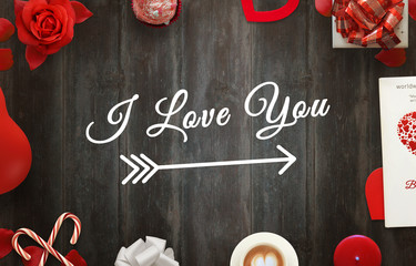 I love you scene with gifts, hearts, petals, rose, lollipop, coffee, book, balloon, tablecloth on wooden table.