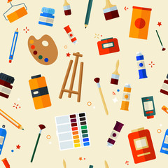 Tools and Materials for Creativity and Painting Seamless Pattern