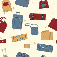 Seamless Travel Pattern with Baggage and Suitcases