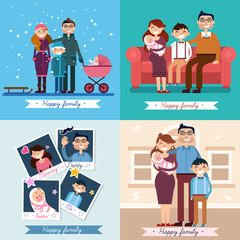 Happy Family with Newborn Baby. Set of vector illustrations