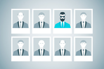 Proffessional staff research. Business concept of human resources managment. Recruitment, personnel selection, headhunting and executive search. Flat vector illustration.
