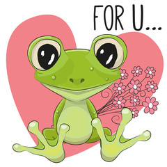 Froggy with flowers