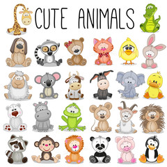 Obraz Set of Cute Animals - fototapety do salonu