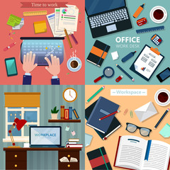 Time to Work. Modern Workplaces at Office and Home with Laptop