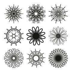 Set of geometric round mandalas