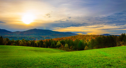 Acrylic Prints Village Sunrise in Vermont in the fall