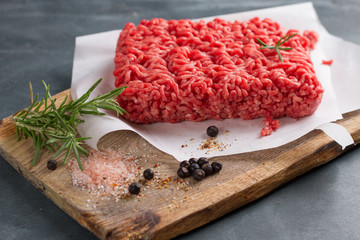 Minced meat on butcher pape