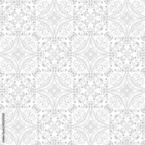 Low Contrasting Vintage Ornament Gray Drawing On White Background Repeating Filigree Geometric Patterns In Victorian Style