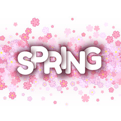 White spring sign over pink flowers background.
