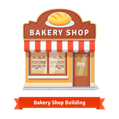 Bakery shop building facade with signboard