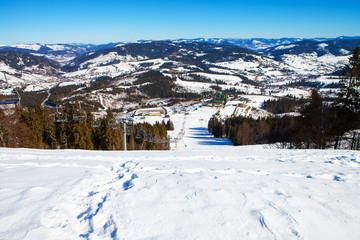 beautiful winter mountains, skiing resort