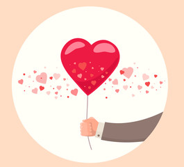 Vector illustration of man hand holding red balloon on white bac