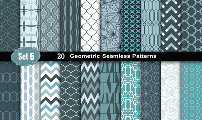 Geometric Seamless Patterns., pattern swatches included for illustrator user, pattern swatches included in file, for your convenient use. Wall mural