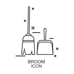 Broom icon vector. Line design