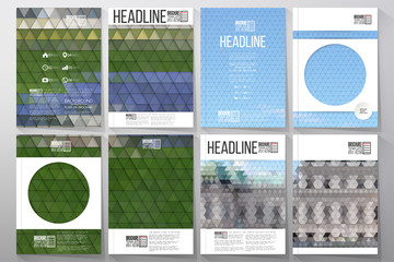 Business templates for brochure, flyer or booklet. Backyard landscape. Collection of abstract multicolored backgrounds. Natural geometrical patterns. Triangular style vector