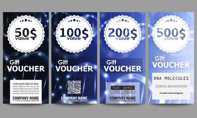 Set of modern gift voucher templates. DNA molecule structure on dark blue background. Science vector background