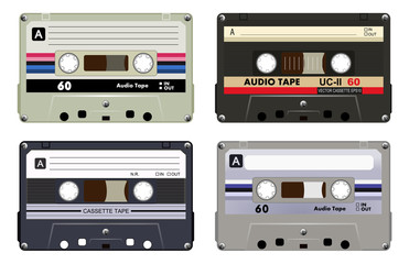 Collection of four plastic audio cassettes tape. Different colorful music tapes. Gray set. old technology, realistic retro design, vector art image illustration, isolated on white background eps10