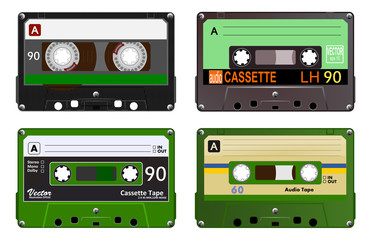 Collection of four plastic audio cassettes tape. Different colorful music tapes. Green set. old technology, realistic retro design, vector art image illustration, isolated on white background eps10