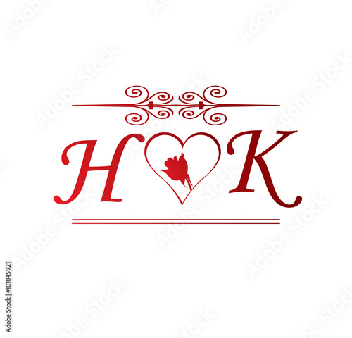 quothk love initial with red heart and rosequot stock image and