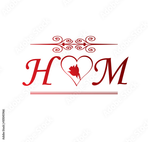 hm love initial with red heart and rose stock image and royalty