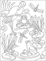 Page with black and white illustration of swamp for coloring. Developing children skills for drawing. Vector image.