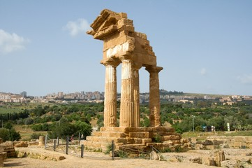 The Temple of Castor and Pollux in the Agrigento, Sicily, Italy