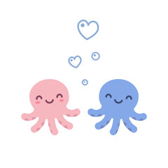 Cute octopus love