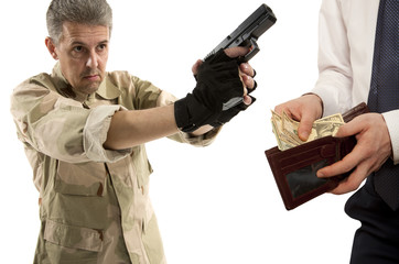 Robbery by businessman isolated