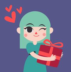 Cute Girl Holding a Presente