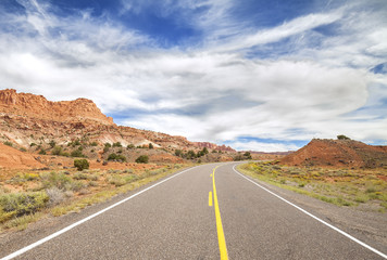 Picture of a scenic desert road, USA.