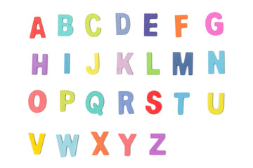 Colorful wooden alphabet letters  isolated on white background