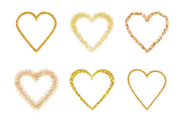 Outline gold hearts