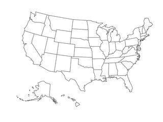 Blank outline map of USA Fotomurales