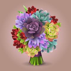 Illustration of color cactus bouquet