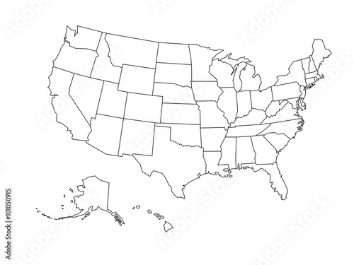 Blank outline map of USA\