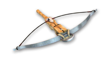 Crossbow with arrow, medieval weapon isolated on white background