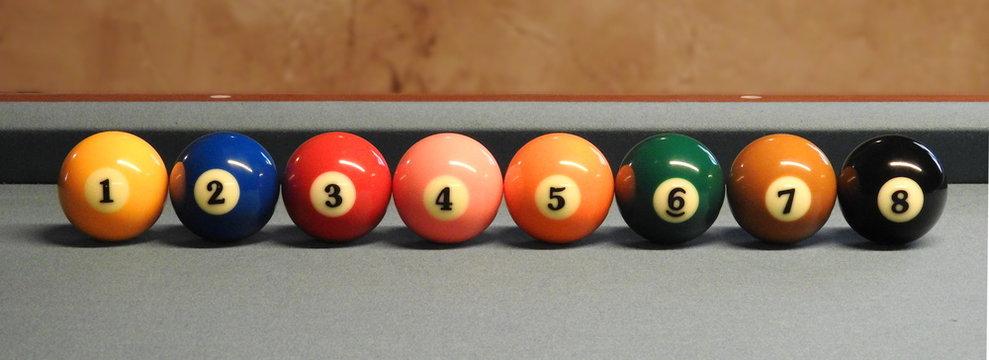 Billardkugeln Farbpalette.. 1-8