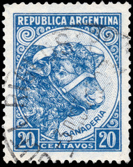 Stamp printed in Argentina shows Bull