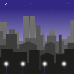Night city. Background. Vector illustration.