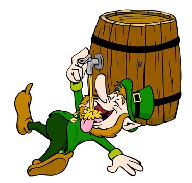 Leprechaun Drinking/ hand drawn cartoon of leprechaun drinking from the tap
