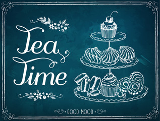 Retro illustration Time for tea with sweet pastries and cupcakes