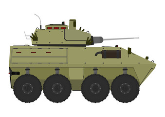 Cartoon armored vehicle on a white background. Vector