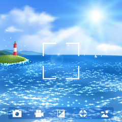 Seascape with Lighthouse. Vector illustration, eps10.