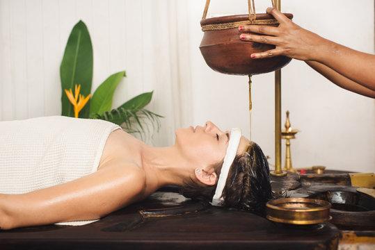 Ayurvedic shirodhara treatment in India