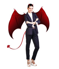 Business woman with devil wings and horns