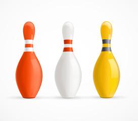 Colorful Bowling Pins. Vector