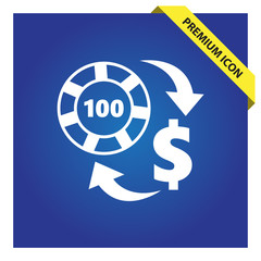 Exchange chip to dollar sign icon.