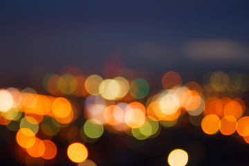 Blurred unfocuses abstract background city lights at night
