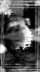 A grunge, vertically-oriented image frame